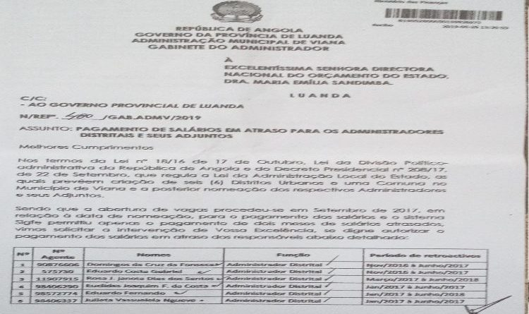 Administradores dos Distritos em Luanda aguardam há mais de um ano pelo pagamento de sete meses de salários em atraso